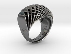 ring-dubbelbol-metaal / double concave metal in Polished Silver: 6.5 / 52.75
