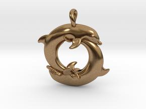 Piscean / Yin Yang Dolphin Totem Pendant 4.5cm in Natural Brass