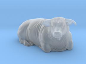 1/64 Lying Horned Hereford Bull Right Turn in Smooth Fine Detail Plastic