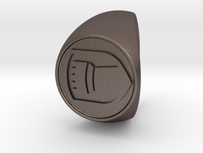 Custom Signet Ring 64 in Polished Bronzed Silver Steel