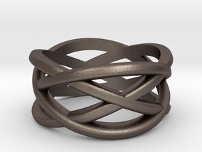 Cross Ring in Polished Bronzed Silver Steel: 5 / 49
