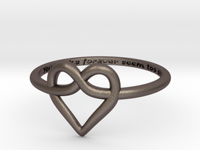 Infinity Love Ring in Polished Bronzed Silver Steel: 5 / 49