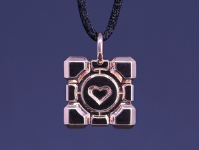 Portal Companion Cube Thin Pendant in 14k Rose Gold Plated Brass