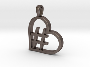 Alpha Heart 'Hashtag' in Polished Bronzed Silver Steel
