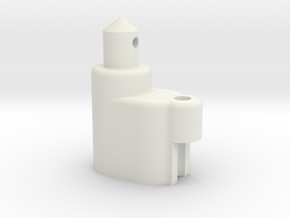 Rounded Battery Post with Attenna Mount in White Natural Versatile Plastic