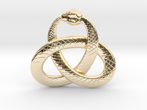 Ouroboros Triquetra Pendant 5.5cm in 14k Gold Plated Brass