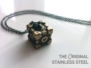 Weighted Companion Cube Pendant in Polished Bronzed Silver Steel