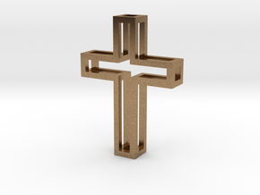 Silhouette Cross Pendant in Natural Brass