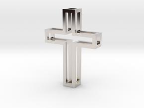 Silhouette Cross Pendant in Rhodium Plated Brass