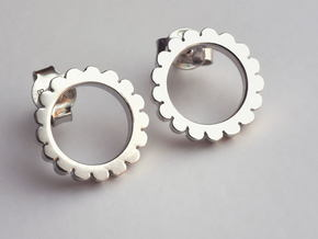 Ingranaggi - Stud Earrings in Rhodium Plated Brass