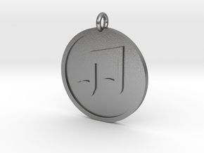 Beamed 8th Notes Pendant in Natural Silver