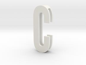 Choker Slide Letters (4cm) - Letter C in White Natural Versatile Plastic