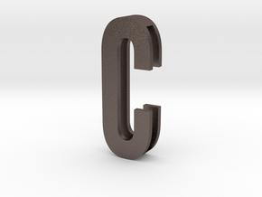 Choker Slide Letters (4cm) - Letter C in Polished Bronzed Silver Steel