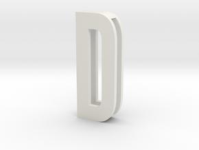 Choker Slide Letters (4cm) - Letter D in White Natural Versatile Plastic
