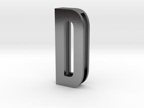 Choker Slide Letters (4cm) - Letter D in Polished Silver