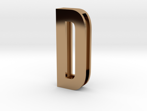 Choker Slide Letters (4cm) - Letter D in Polished Brass