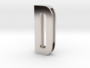 Choker Slide Letters (4cm) - Letter D in Rhodium Plated Brass