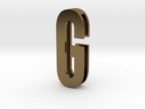 Choker Slide Letters (4cm) - Letter G in Polished Bronze