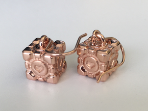 Portal Companion Cube Earrings in 14k Rose Gold Plated Brass