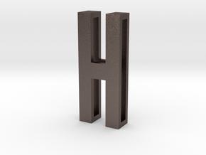 Choker Slide Letters (4cm) - Letter H in Polished Bronzed Silver Steel