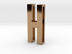 Choker Slide Letters (4cm) - Letter H in Polished Brass