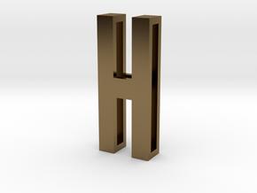 Choker Slide Letters (4cm) - Letter H in Polished Bronze