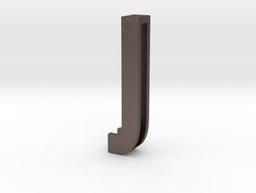 Choker Slide Letters (4cm) - Letter J in Polished Bronzed Silver Steel