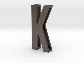 Choker Slide Letters (4cm) - Letter K in Polished Bronzed Silver Steel