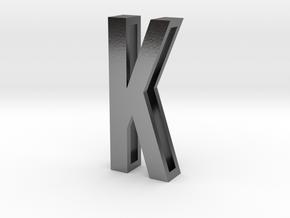 Choker Slide Letters (4cm) - Letter K in Polished Silver