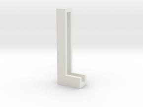 Choker Slide Letters (4cm) - Letter L in White Natural Versatile Plastic