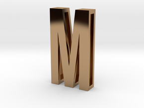 Choker Slide Letters (4cm) - Letter M in Polished Brass