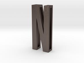 Choker Slide Letters (4cm) - Letter N in Polished Bronzed Silver Steel