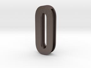 Choker Slide Letters (4cm) - Letter O or Number 0 in Polished Bronzed Silver Steel