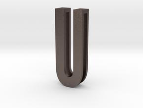 Choker Slide Letters (4cm) - Letter U in Polished Bronzed Silver Steel