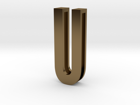Choker Slide Letters (4cm) - Letter U in Polished Bronze