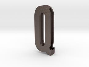 Choker Slide Letters (4cm) - Letter Q in Polished Bronzed Silver Steel