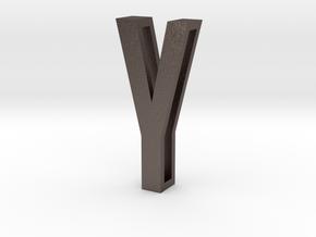Choker Slide Letters (4cm) - Letter Y in Polished Bronzed Silver Steel