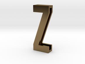 Choker Slide Letters (4cm) - Letter Z in Polished Bronze