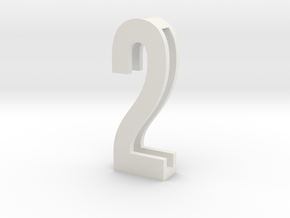 Choker Slide Letters (4cm) - Number 2 in White Natural Versatile Plastic