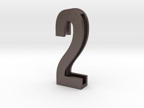 Choker Slide Letters (4cm) - Number 2 in Polished Bronzed Silver Steel