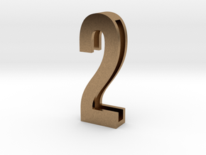 Choker Slide Letters (4cm) - Number 2 in Natural Brass