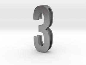 Choker Slide Letters (4cm) - Number 3 in Natural Silver