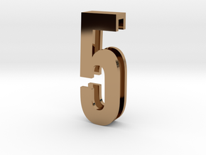Choker Slide Letters (4cm) - Number 5 in Polished Brass