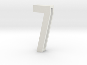 Choker Slide Letters (4cm) - Number 7 in White Natural Versatile Plastic