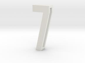 Choker Slide Letters (4cm) - Number 7 in White Strong & Flexible