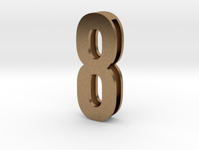 Choker Slide Letters (4cm) -Number  8 in Natural Brass