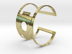 Inca Cross Wide Cuff Bracelet Simple in 18k Gold Plated Brass: Medium