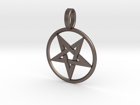 Inverted Pentagram Pendant in Polished Bronzed Silver Steel