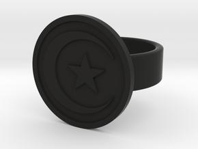 Star & Crescent Ring in Black Natural Versatile Plastic: 8 / 56.75