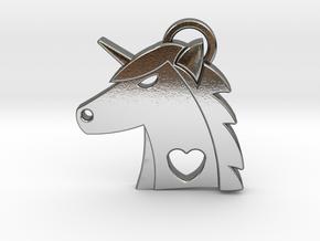 Unicorn Head Pendant in Polished Silver